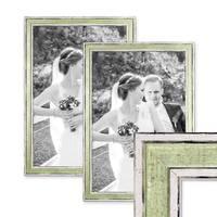 2er Set Bilderrahmen Pastell / Alt-Weiß Hellgrün 30x42 cm / DIN A3 Massivholz mit Vintage Look / Fotorahmen / Wechselrahmen – Bild 1