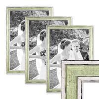 3er Set Bilderrahmen Pastell / Alt-Weiß Hellgrün 30x45 cm Massivholz mit Vintage Look / Fotorahmen / Wechselrahmen – Bild 1