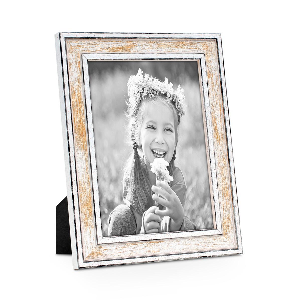 Bilderrahmen Pastell / Alt-Weiß Gold 18x24 cm Massivholz mit Vintage ...