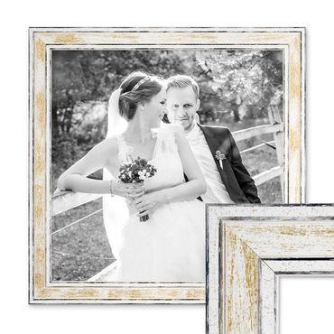 Bilderrahmen Pastell / Alt-Weiß Gold 30x30 cm Massivholz mit Vintage Look / Fotorahmen / Wechselrahmen