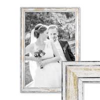 Bilderrahmen Pastell / Alt-Weiß Gold 30x42 cm / DIN A3 Massivholz mit Vintage Look / Fotorahmen / Wechselrahmen – Bild 1