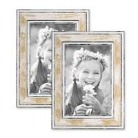2er Bilderrahmen-Set 10x15 cm Pastell Vintage Look Gold