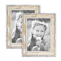 2er Set Bilderrahmen Pastell / Alt-Weiß Gold 13x18 cm Massivholz mit Vintage Look / Fotorahmen / Wechselrahmen