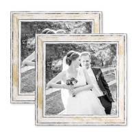 2er Set Bilderrahmen Pastell / Alt-Weiß Gold 20x20 cm Massivholz mit Vintage Look / Fotorahmen / Wechselrahmen – Bild 1