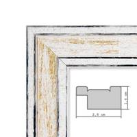 2er Set Bilderrahmen Pastell / Alt-Weiß Gold 20x20 cm Massivholz mit Vintage Look / Fotorahmen / Wechselrahmen – Bild 2