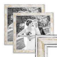 2er Set Bilderrahmen Pastell / Alt-Weiß Gold 30x30 cm Massivholz mit Vintage Look / Fotorahmen / Wechselrahmen