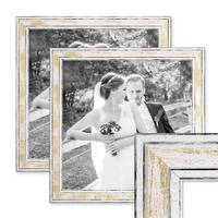 2er Bilderrahmen-Set 30x30 cm Pastell Vintage Look Gold