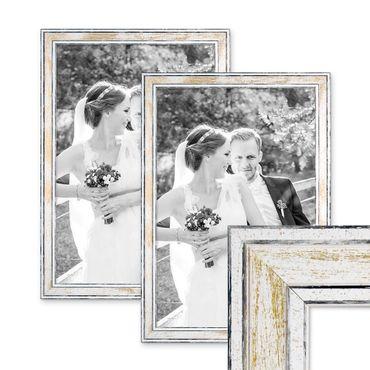 2er Set Bilderrahmen Pastell / Alt-Weiß Gold 30x40 cm Massivholz mit Vintage Look / Fotorahmen / Wechselrahmen