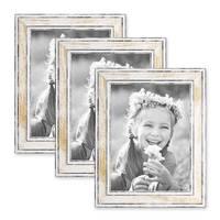 3er Set Bilderrahmen Pastell / Alt-Weiß Gold 15x20 cm Massivholz mit Vintage Look / Fotorahmen / Wechselrahmen – Bild 1