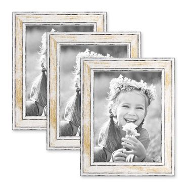 3er Set Bilderrahmen Pastell / Alt-Weiß Gold 18x24 cm Massivholz mit Vintage Look / Fotorahmen / Wechselrahmen