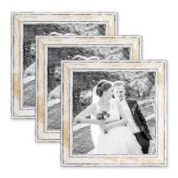 3er Bilderrahmen-Set 20x20 cm Pastell Vintage Look Gold