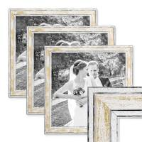 3er Set Bilderrahmen Pastell / Alt-Weiß Gold 30x30 cm Massivholz mit Vintage Look / Fotorahmen / Wechselrahmen – Bild 1