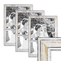 3er Set Bilderrahmen Pastell / Alt-Weiß Gold 30x40 cm Massivholz mit Vintage Look / Fotorahmen / Wechselrahmen – Bild 1