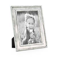 Bilderrahmen Pastell / Alt-Weiß Silber 13x18 cm Massivholz mit Vintage Look / Fotorahmen / Wechselrahmen – Bild 1