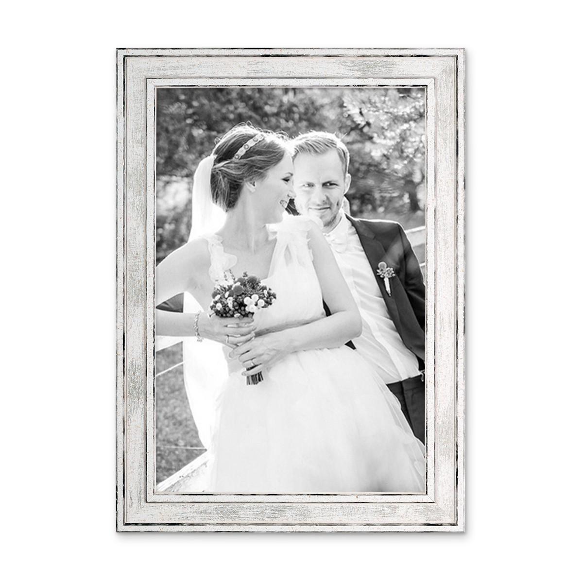 Great Bilderrahmen Pastell / Alt Weiß Silber 20x30 Cm Massivholz Mit Vintage Look  / Fotorahmen / Awesome Design