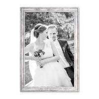 Bilderrahmen Pastell / Alt-Weiß Silber 30x42 cm / DIN A3 Massivholz mit Vintage Look / Fotorahmen / Wechselrahmen – Bild 4