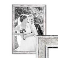 Bilderrahmen Pastell / Alt-Weiß Silber 30x42 cm / DIN A3 Massivholz mit Vintage Look / Fotorahmen / Wechselrahmen – Bild 1