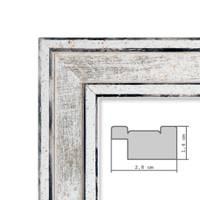 Bilderrahmen Pastell / Alt-Weiß Silber 30x42 cm / DIN A3 Massivholz mit Vintage Look / Fotorahmen / Wechselrahmen – Bild 2