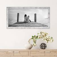 Panorama-Bilderrahmen Pastell / Alt-Weiß Silber 30x60 cm Massivholz mit Vintage Look / Fotorahmen / Wechselrahmen – Bild 3