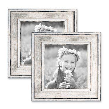 2er Set Bilderrahmen Pastell / Alt-Weiß Silber 10x10 cm Massivholz mit Vintage Look / Fotorahmen / Wechselrahmen