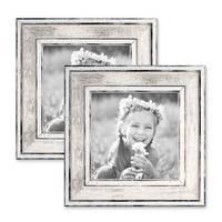 2er Set Bilderrahmen Pastell / Alt-Weiß Silber 10x10 cm Massivholz mit Vintage Look / Fotorahmen / Wechselrahmen – Bild 1