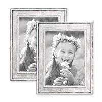 2er Set Bilderrahmen Pastell / Alt-Weiß Silber 13x18 cm Massivholz mit Vintage Look / Fotorahmen / Wechselrahmen