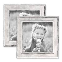 2er Set Bilderrahmen Pastell / Alt-Weiß Silber 15x15 cm Massivholz mit Glasscheibe und Aufsteller und Zubehör / Fotorahmen / Wechselrahmen – Bild 1