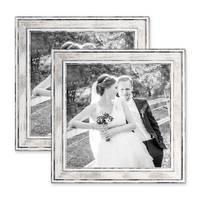 2er Set Bilderrahmen Pastell / Alt-Weiß Silber 20x20 cm Massivholz mit Vintage Look / Fotorahmen / Wechselrahmen – Bild 1