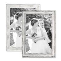 2er Bilderrahmen-Set 20x30 cm Pastell Vintage Look Silber