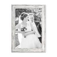 2er Set Bilderrahmen Pastell / Alt-Weiß Silber 21x30 cm / DIN A4 Massivholz mit Vintage Look / Fotorahmen / Wechselrahmen – Bild 4