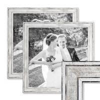 2er Set Bilderrahmen Pastell / Alt-Weiß Silber 30x30 cm Massivholz mit Vintage Look / Fotorahmen / Wechselrahmen