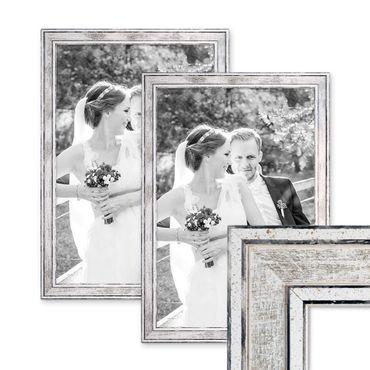 2er Set Bilderrahmen Pastell / Alt-Weiß Silber 30x42 cm / DIN A3 Massivholz mit Vintage Look / Fotorahmen / Wechselrahmen