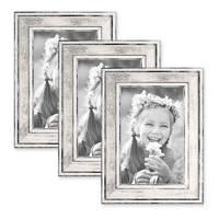 3er Set Bilderrahmen Pastell / Alt-Weiß Silber 10x15 cm Massivholz mit Vintage Look / Fotorahmen / Wechselrahmen