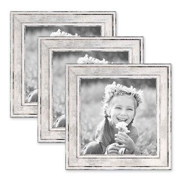 3er Set Bilderrahmen Pastell / Alt-Weiß Silber 15x15 cm Massivholz mit Vintage Look / Fotorahmen / Wechselrahmen