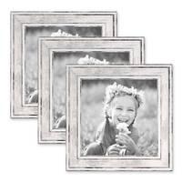 3er Set Bilderrahmen Pastell / Alt-Weiß Silber 15x15 cm Massivholz mit Vintage Look / Fotorahmen / Wechselrahmen – Bild 1