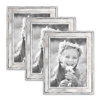 3er Set Bilderrahmen Pastell / Alt-Weiß Silber 18x24 cm Massivholz mit Vintage Look / Fotorahmen / Wechselrahmen