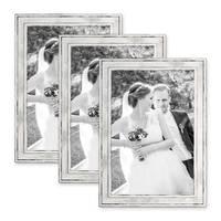 3er Set Bilderrahmen Pastell / Alt-Weiß Silber 20x30 cm Massivholz mit Vintage Look / Fotorahmen / Wechselrahmen – Bild 1