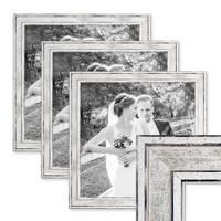 3er Set Bilderrahmen Pastell / Alt-Weiß Silber 30x30 cm Massivholz mit Vintage Look / Fotorahmen / Wechselrahmen – Bild 1