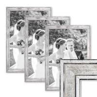 3er Set Bilderrahmen Pastell / Alt-Weiß Silber 30x45 cm Massivholz mit Vintage Look / Fotorahmen / Wechselrahmen – Bild 1