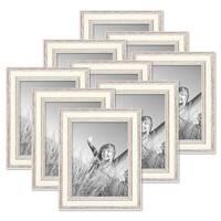 9er Set Bilderrahmen Shabby-Chic Landhaus-Stil Weiss 15x20 cm Massivholz mit Glasscheibe und Zubehör / Fotorahmen – Bild 1