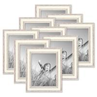 9er Bilderrahmen-Set Shabby-Chic Landhaus-Stil Weiss 15x20 cm