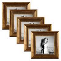 5er Set Bilderrahmen 10x10 cm Gold Barock Antik Massivholz mit Glasscheibe und Zubehör / Fotorahmen / Barock-Rahmen  – Bild 1