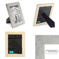 2er Bilderrahmen-Set 10x10 cm Strandhaus Grau Rustikal Massivholz mit Glasscheibe inkl. Zubehör / Fotorahmen  – Bild 2
