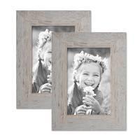 2er Bilderrahmen-Set 10x15 cm Strandhaus Grau Rustikal Massivholz mit Glasscheibe inkl. Zubehör / Fotorahmen  – Bild 1