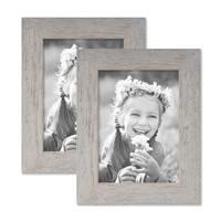 2er Bilderrahmen-Set 13x18 cm Strandhaus Grau Rustikal Massivholz mit Glasscheibe inkl. Zubehör / Fotorahmen