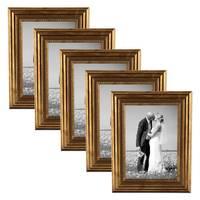 5er Set Bilderrahmen 13x18 cm Gold Barock Antik Massivholz mit Glasscheibe und Zubehör / Fotorahmen / Barock-Rahmen  – Bild 1