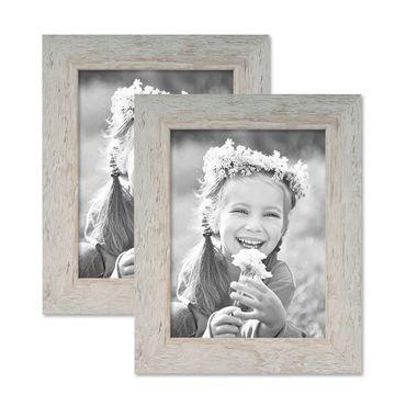2er Bilderrahmen-Set 18x24 cm Strandhaus Grau Rustikal Massivholz mit Glasscheibe inkl. Zubehör / Fotorahmen