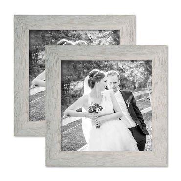 2er Bilderrahmen-Set 20x20 cm Strandhaus Grau Rustikal Massivholz mit Glasscheibe inkl. Zubehör / Fotorahmen
