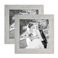 2er Bilderrahmen-Set 20x20 cm Strandhaus Grau Rustikal Massivholz mit Glasscheibe inkl. Zubehör / Fotorahmen  – Bild 1