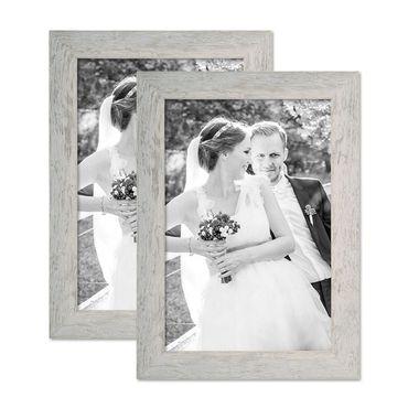 2er Bilderrahmen-Set 21x30 cm / DIN A4 Strandhaus Grau Rustikal Massivholz mit Glasscheibe inkl. Zubehör / Fotorahmen